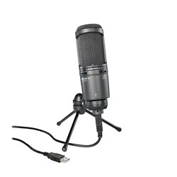 Audio Technica AT2020USB+ USB Condenser Microphone w/ Mount, Pouch, Stand & Cable