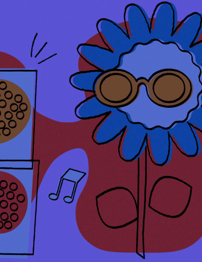 Illustration of a flower with sunglasses.