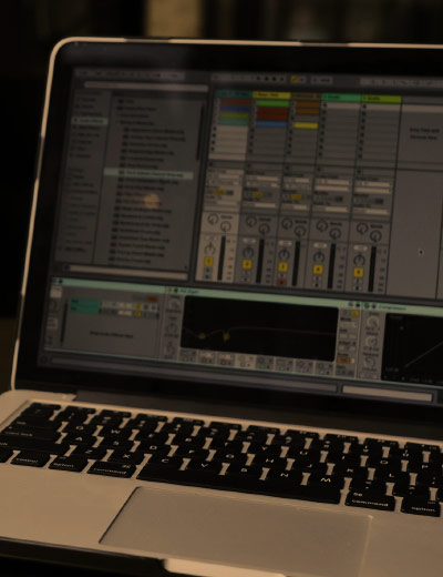 Laptop with Ableton Live on screen