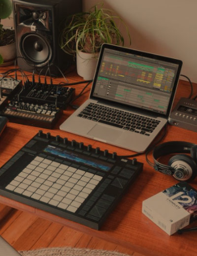 laptop and ableton push on desk