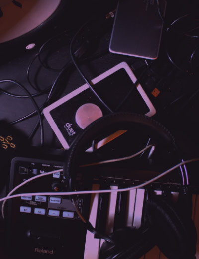 music productoin gear on a desk